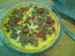 cherry tomato, lovage and goat's cheese quiche