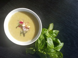 Corn & Basil, a summer soup topped with a fresh red onion salsa